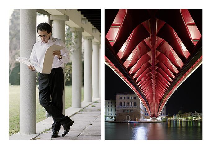 Испанският архитект Сантяго Калатрава. Вдясно - Мостът на Конституцията във Венеция. Снимки: © Santiago Calatrava LLC, 2012/hermitagemuseum.org
