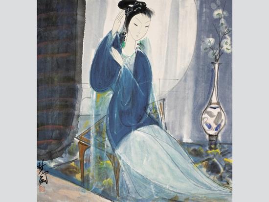 """""""Жена в синьо"""" (Lady in Blue) от художника Лин Фенмиан (Lin Fengmian; 1900-1991), смятан за един от пионерите на китайската съвременна живопис и един от основателите на Китайска академия по изкуствата в Ханджоу. Снимка: chinaonlinemuseum.com"""