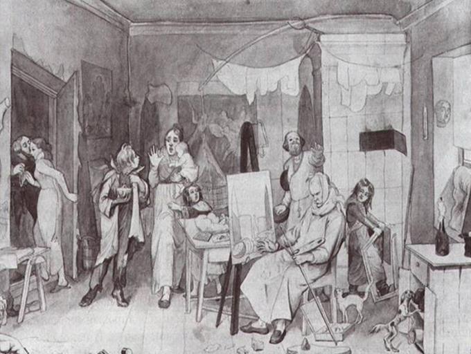 """Една многозначителна рисунка със сепия на Павел Федотов (1815-1852) - """"Бедният художник, който се ожени без зестра за своя талант"""" (1844). Снимка: Третяковска галерия, Москва"""