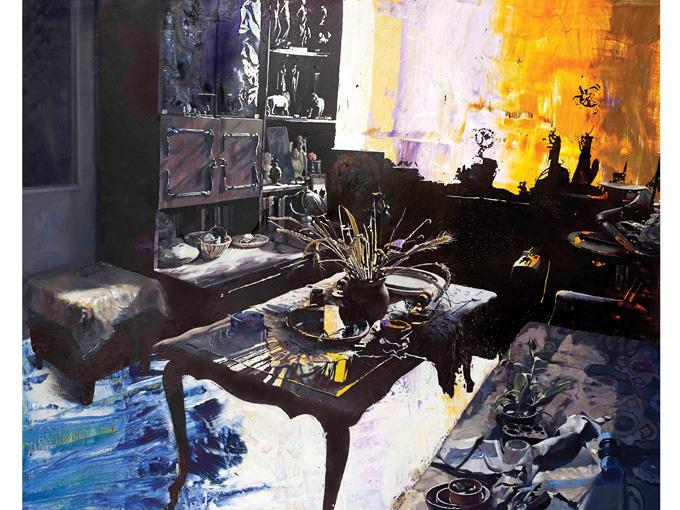 """Димитър Генчев, """"Изгрев в скучната стая"""", 160 x 200 см, маслени и акрил върху платно. Снимка: СБХ © Димитър Генчев"""