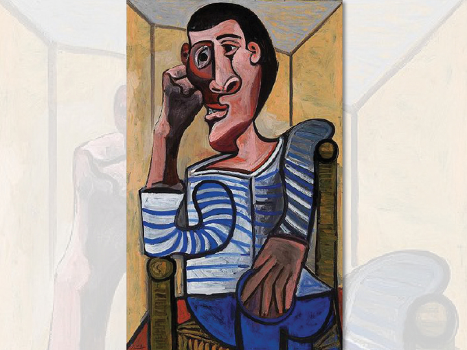 """През 1952 г. колекционерът Виктор Ганц купува картината """"Морякът"""" от Пабло Пикасо за 11 хил. USD, а през май 2018 г. платното ще бъде предложено на търг с начална цена 70 млн. USD. Снимка: Screenshot of christies.com"""